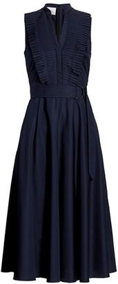 Akris Punto Sleeveless Pleated Midi Dress