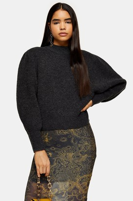 Topshop Charcoal Super Soft Volume Sleeve Sweater