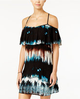 Jessica Simpson Printed Ruffled Cold-Shoulder Dress