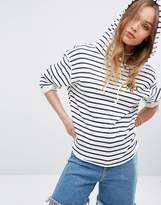 RVCA Relaxed Hoodie With Raw Hems In Stripe