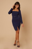 Thumbnail for your product : Little Mistress Joey Navy Square-Neck Belted Bodycon Dress