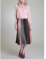 Vivienne Tam Patchwork Suede Midi Gore Skirt.