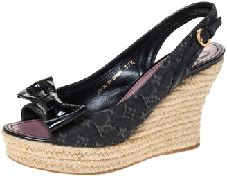Louis Vuitton Black Denim Monogram and Patent Leather Bow Espadrille Wedge Slingback Sandals Size 37.5