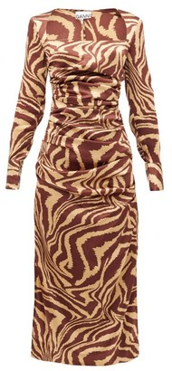 Ganni Tiger-print Silk-blend Charmeuse Midi Dress - Multi