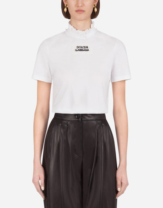 Dolce & Gabbana Jersey T-Shirt With Embroidery And A Lace Collar
