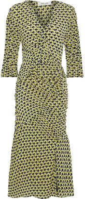 Diane von Furstenberg Becca Ruched Printed Mesh Dress