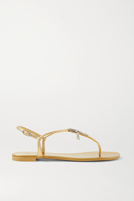 Giuseppe Zanotti Crystal-embellished Metallic Leather Sandals - Gold