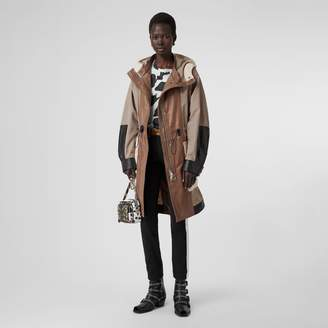 Burberry Leather Panelled Nylon Hooded Parka