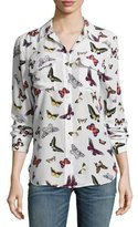 Equipment Slim Signature Butterfly-Print Long-Sleeve Shirt, White