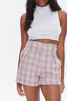 Forever 21 Belted Plaid Cuffed Shorts