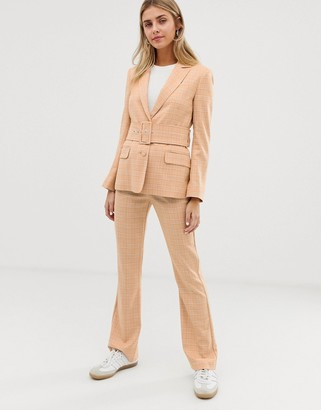 Asos Design DESIGN slim kick flare suit trousers in mustard check