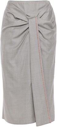 Roland Mouret Embroidered Checked Wool And Silk-blend Midi Pencil Skirt