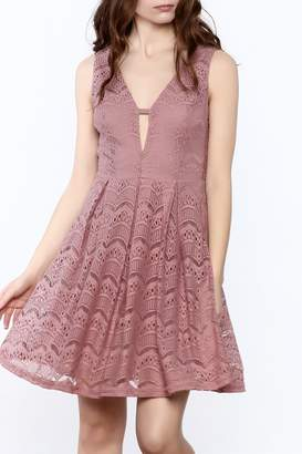 She + Sky Old Rose Lace Dress
