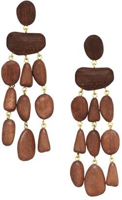 Cult Gaia Tallulah Mahogany Wood Drop Earrings