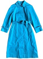 Aquascutum London Turquoise Cotton Trench Coat for Women