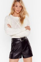 Womens Leather and Lace Western Belted Faux Leather Shorts - black - 10