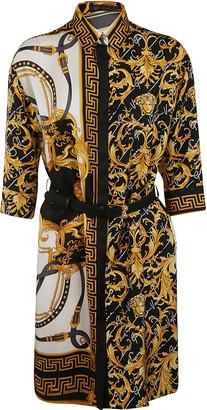 Versace Contrast Detail Print Belted Dress