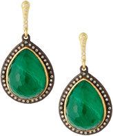 Armenta Old World Amethyst & Malachite Pear Drop Earrings w/ Diamonds