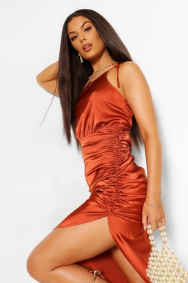 boohoo Satin One Shoulder Asymmetric Ruched Dress