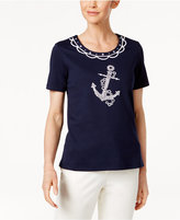 Alfred Dunner Petite Seas The Day Anchor Top