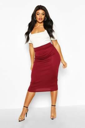 boohoo Plus Rib Knit Midi Skirt