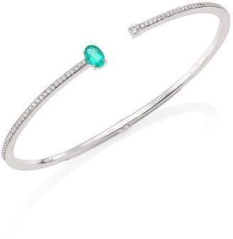 Hueb Spectrum Diamond, Emerald & 18K White Gold Bangle