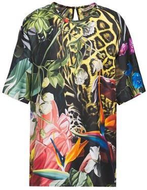 Roberto Cavalli Printed Silk-twill Top