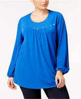 NY Collection Plus Size Grommet-Trim Top