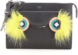 Fendi Monster Front Pocket Clutch Leather with Fur