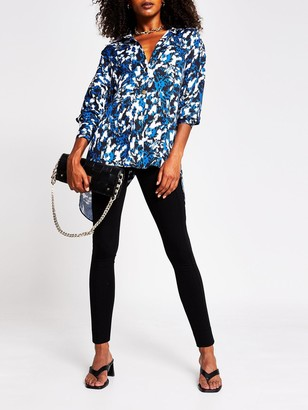 River Island Split Back Printed Shirt - Multi