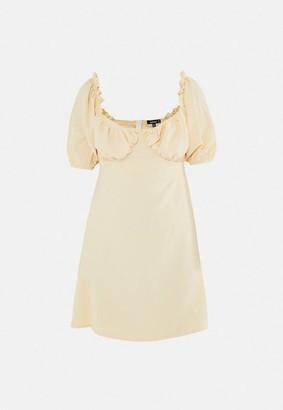 Missguided Lemon Milkmaid Skater Dress