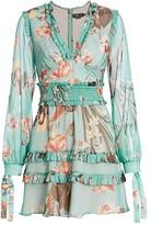 PatBO Carolina Floral Ruffle Mini A-Line Dress