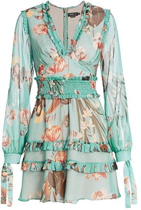 PatBO Carolina Floral Ruffle Mini A-Line Dress