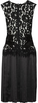 Marc Jacobs Corded Lace And Pleated Silk-satin Dress - Black