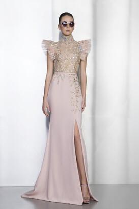 Ziad Nakad High Neck Beaded Gown