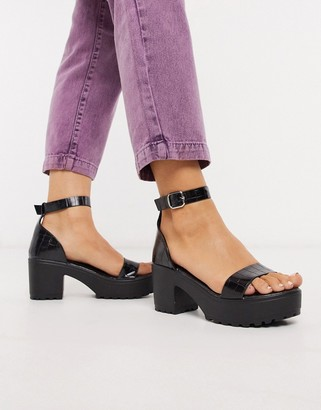 Qupid chunky heeled sandals in black croc