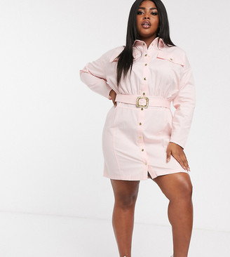 Asos DESIGN Curve mini shirt dress with belt