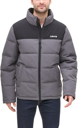 Levi's Levis Men's Arctic Cloth Stand Collar Logo Puffer Jacket