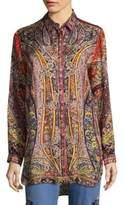 Etro Fern Paisley Button-Down Tunic