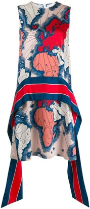 Victoria Victoria Beckham Map-Print Scarf Dress