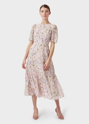 Hobbs Silk Blossom Floral Midi Dress