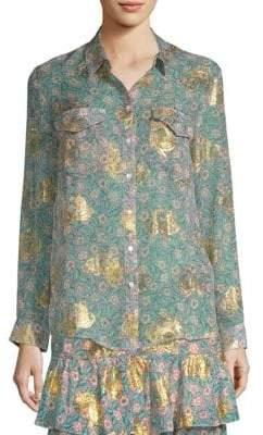 The Kooples Western Flower Silk-Blend Top