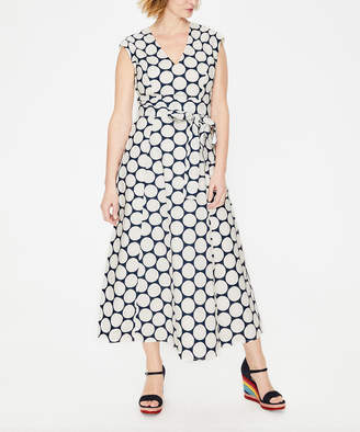 Boden Women's Casual Dresses Ivory - Navy Polka Dot Tori Midi Dress - Women, Women's Tall & Petite