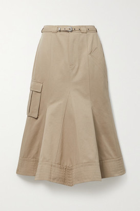 ANDERSSON BELL Leah Belted Paneled Twill Midi Skirt - Beige