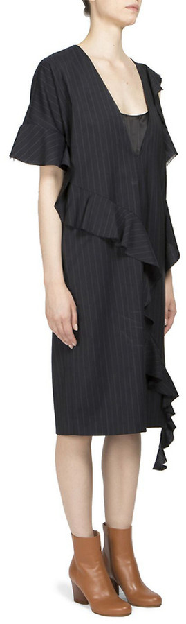 Maison Margiela Asymmetric Wool Sheath Dress