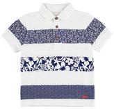 Mayoral Hawaiian Stripe Polo Shirt, White, Size 3-7