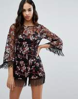 Missguided Premium Embroidered Playsuit
