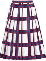 Tory Burch Harper Pleated Plaid Silk-twill Skirt - Ivory