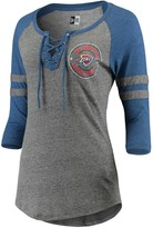 New Era Women's Heathered Gray/Heathered Royal Oklahoma City Thunder Lace-up Tri-Blend Raglan 3/4-Sleeve T-Shirt