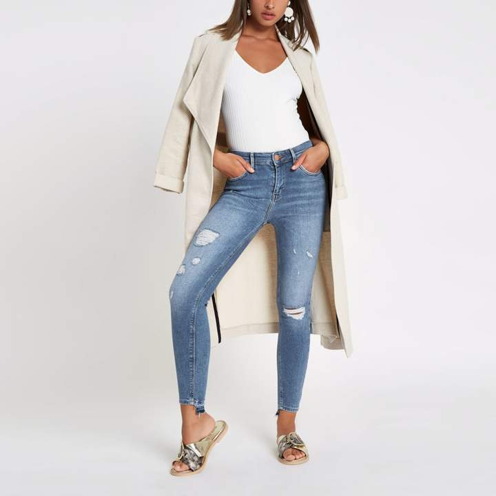 River Island Womens Mid Blue Amelie super skinny ripped jeans